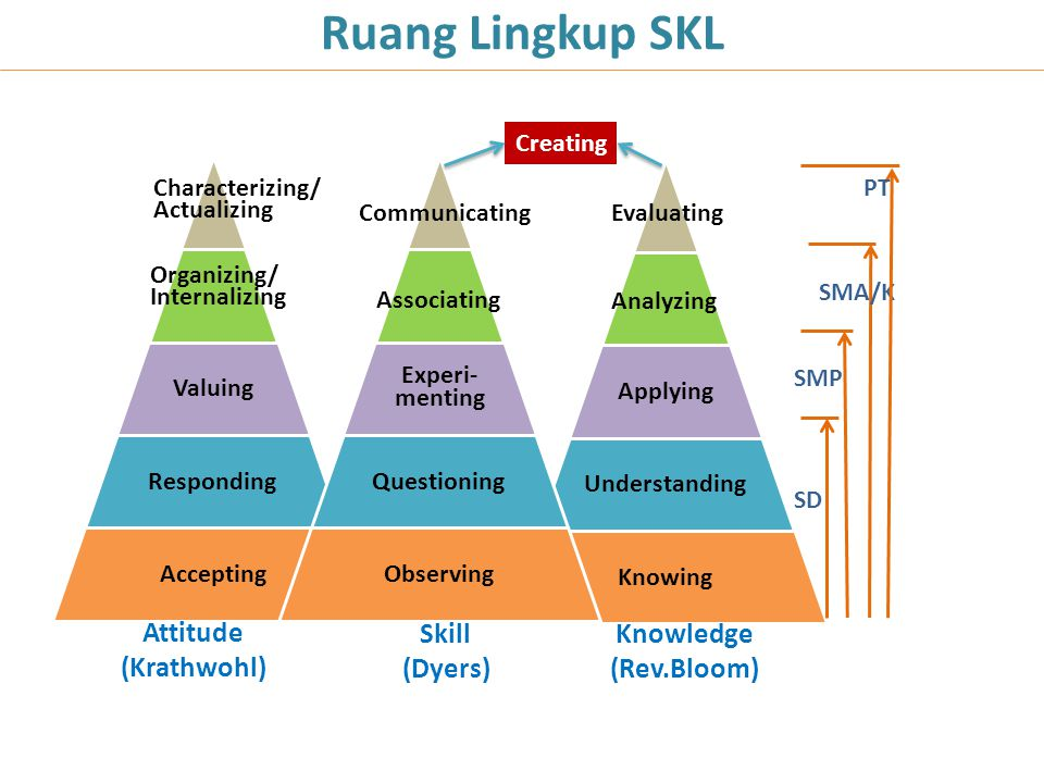 Ruang Lingkup SKL Attitude (Krathwohl) Skill (Dyers) Knowledge