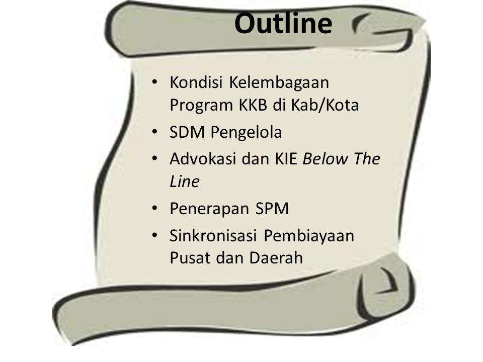 Outline Kondisi Kelembagaan Program KKB di Kab/Kota SDM Pengelola