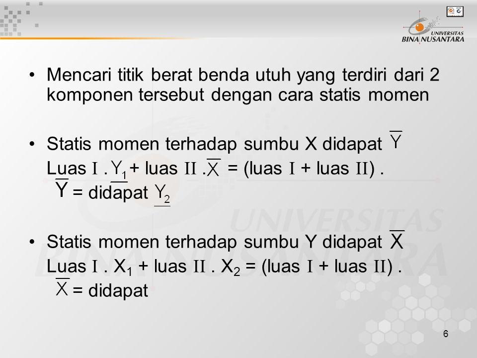 Mencari titik berat benda utuh yang terdiri dari 2 komponen tersebut dengan cara statis momen