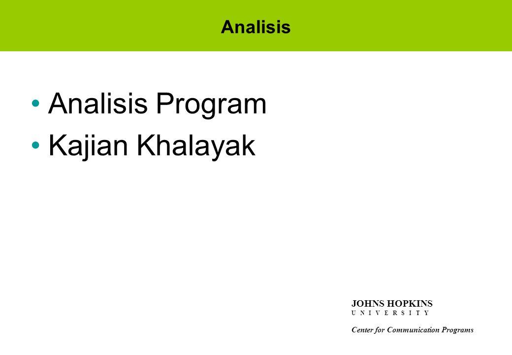 Analisis Program Kajian Khalayak Analisis JOHNS HOPKINS