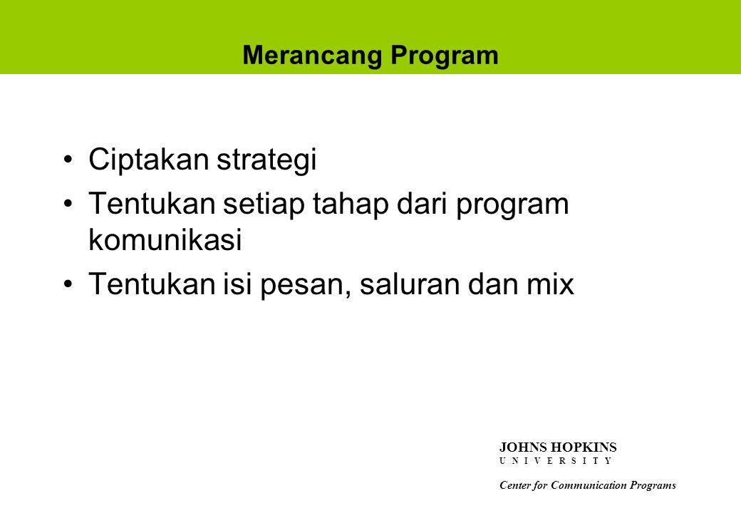 Tentukan setiap tahap dari program komunikasi