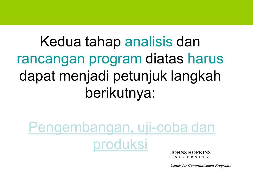 Kedua tahap analisis dan rancangan program diatas harus dapat menjadi petunjuk langkah berikutnya: Pengembangan, uji-coba dan produksi