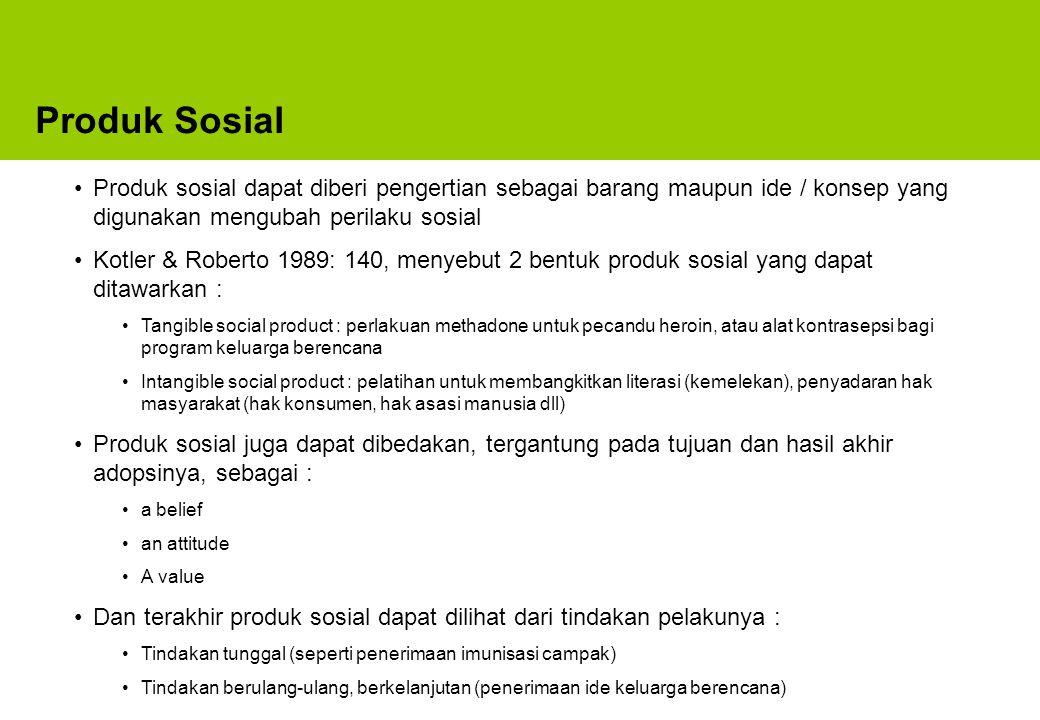 Produk Sosial Produk sosial dapat diberi pengertian sebagai barang maupun ide / konsep yang digunakan mengubah perilaku sosial.