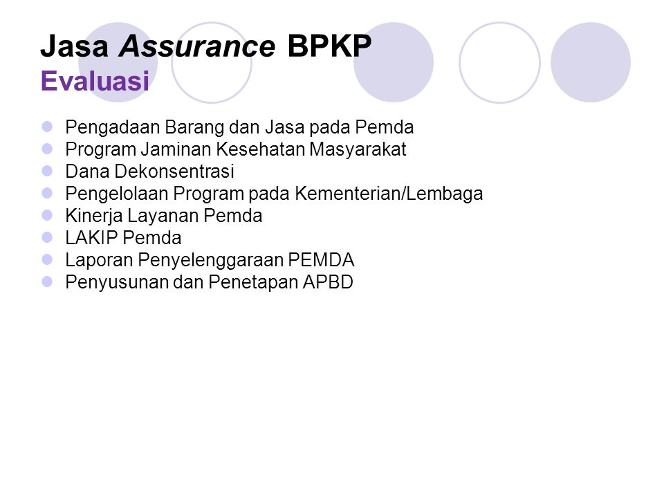 Jasa Assurance BPKP Evaluasi