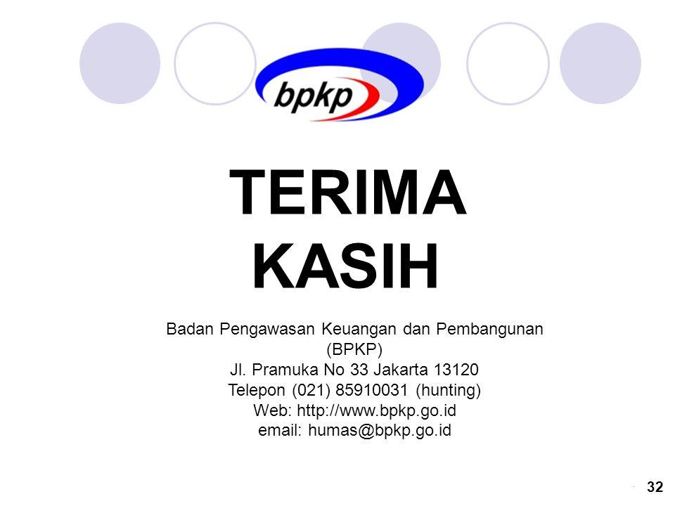 TERIMA KASIH Badan Pengawasan Keuangan dan Pembangunan (BPKP)