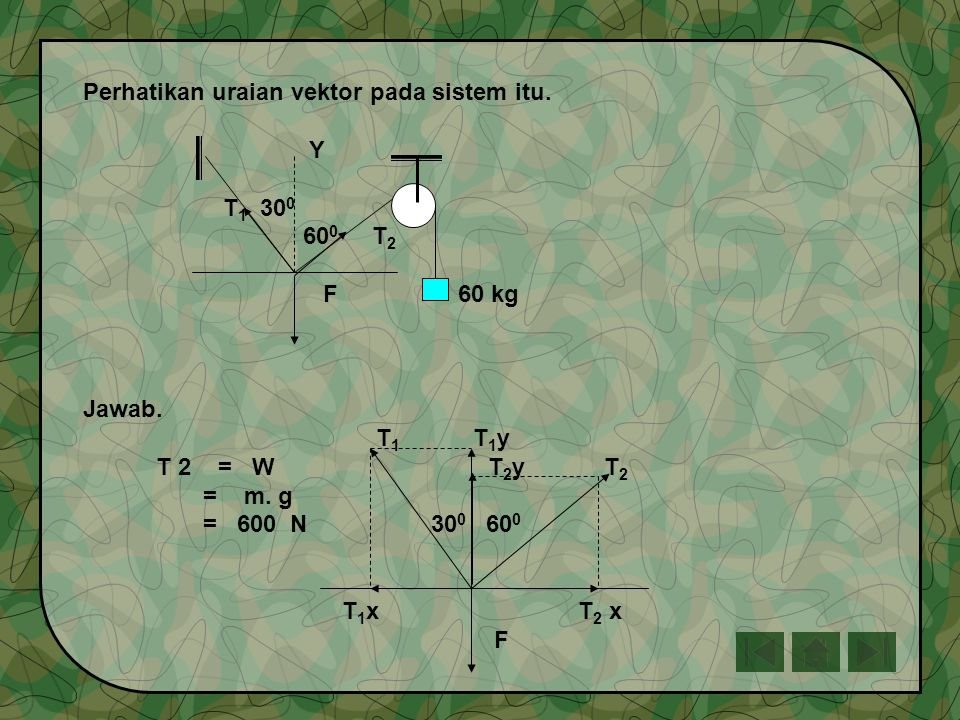 Perhatikan uraian vektor pada sistem itu.