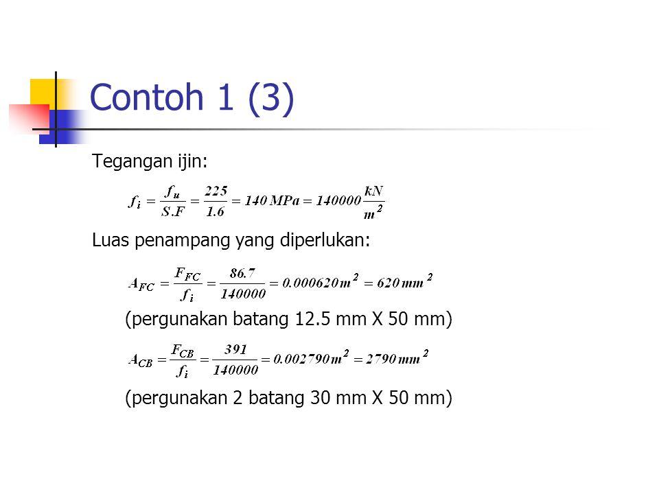 Contoh 1 (3) Tegangan ijin: Luas penampang yang diperlukan:
