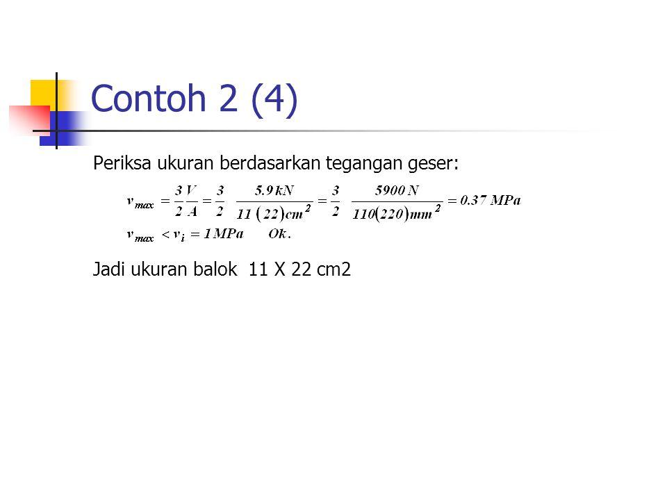 Contoh 2 (4) Periksa ukuran berdasarkan tegangan geser: