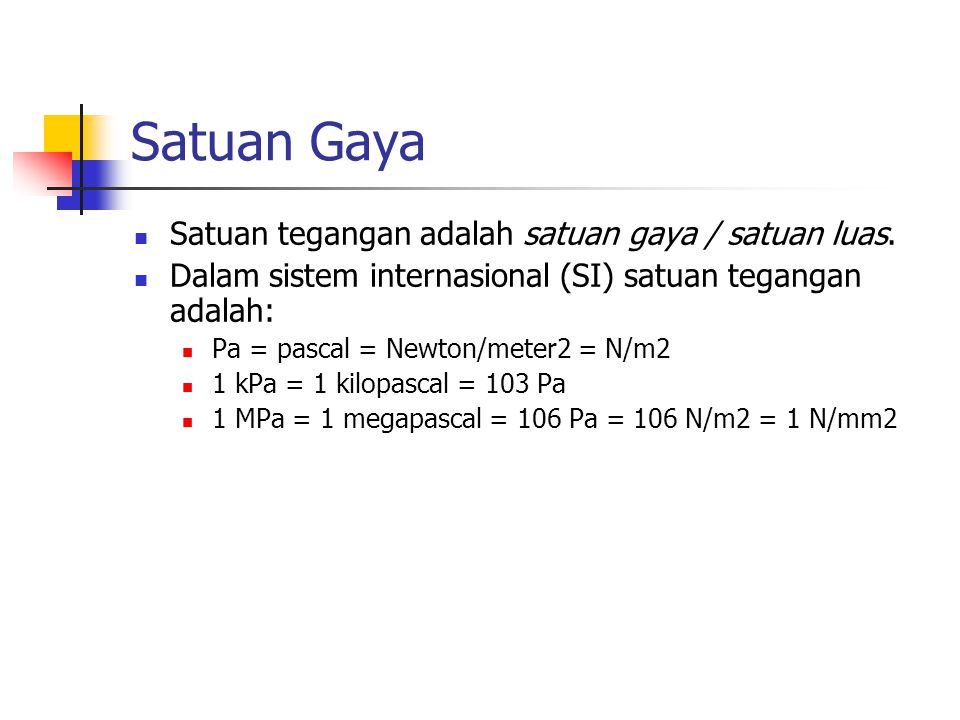 Satuan Gaya Satuan tegangan adalah satuan gaya / satuan luas.