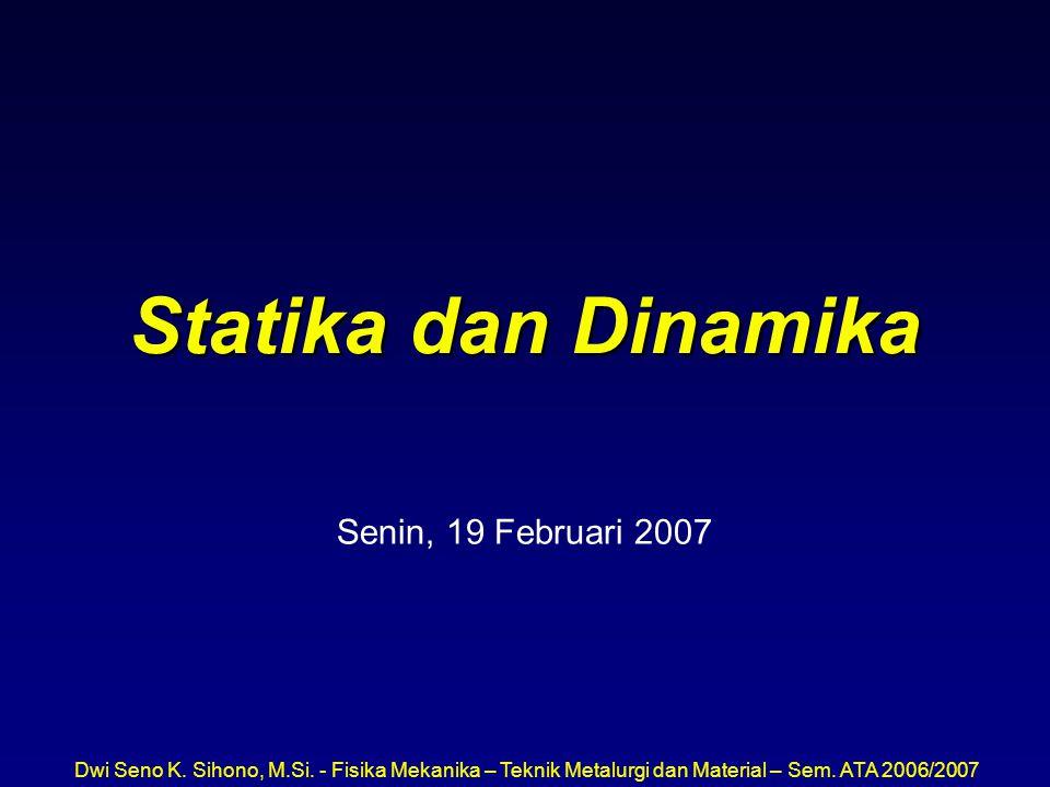 Statika dan Dinamika Senin, 19 Februari 2007