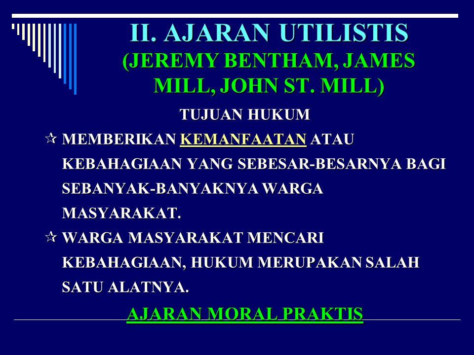 II. AJARAN UTILISTIS (JEREMY BENTHAM, JAMES MILL, JOHN ST. MILL)