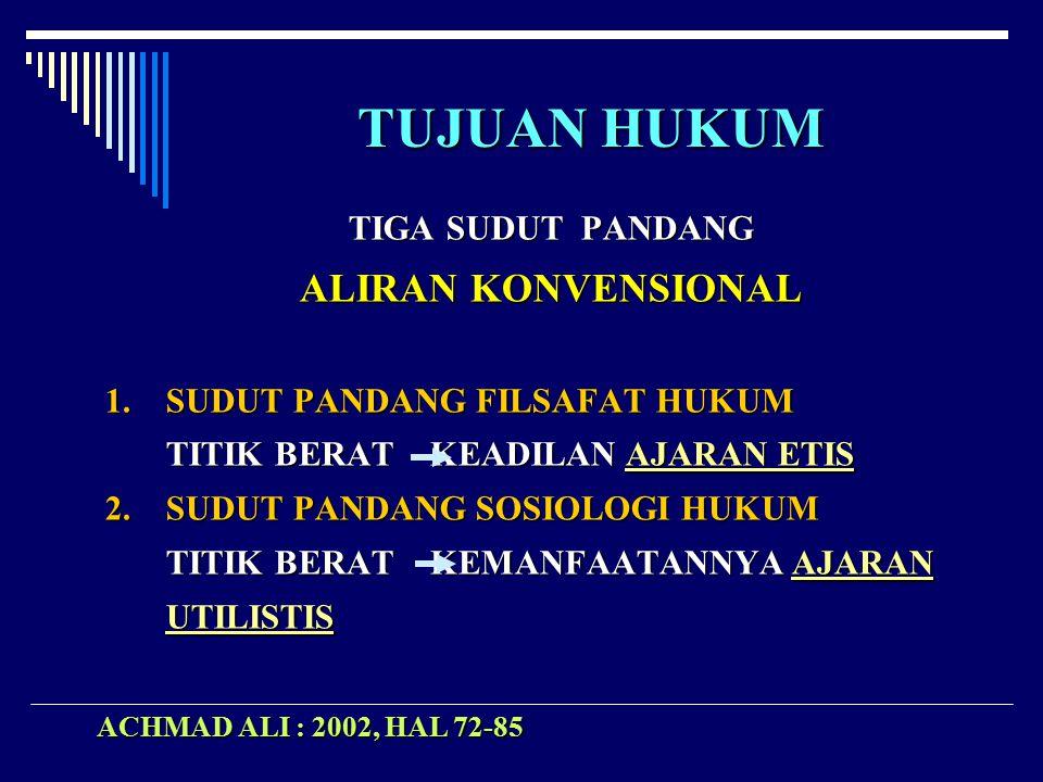 TUJUAN HUKUM ALIRAN KONVENSIONAL TIGA SUDUT PANDANG