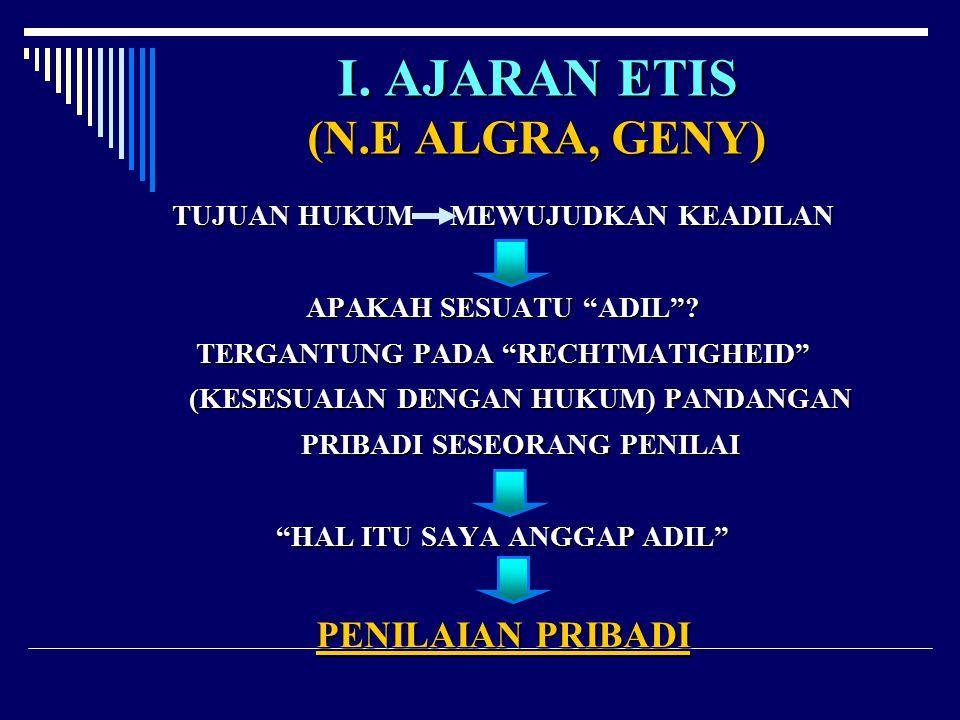 I. AJARAN ETIS (N.E ALGRA, GENY)