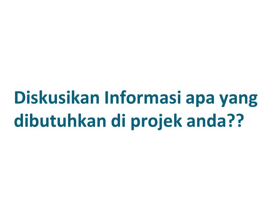 Diskusikan Informasi apa yang dibutuhkan di projek anda