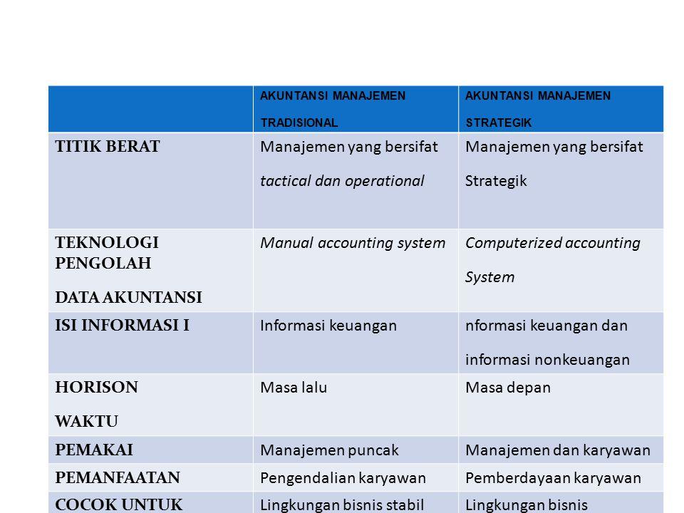 Manajemen yang bersifat tactical dan operational Strategik