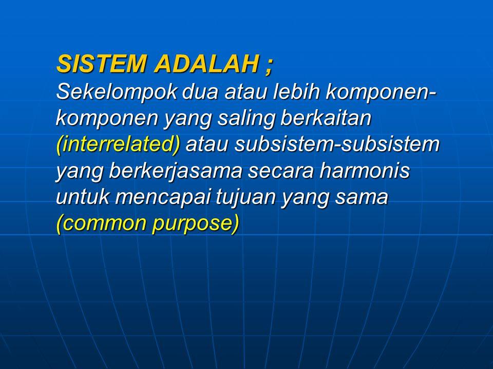 SISTEM ADALAH ; Sekelompok dua atau lebih komponen-komponen yang saling berkaitan (interrelated) atau subsistem-subsistem yang berkerjasama secara harmonis untuk mencapai tujuan yang sama (common purpose)