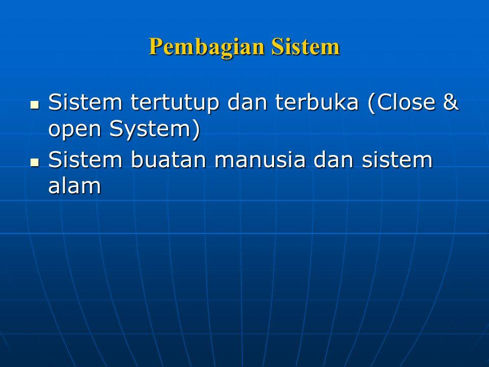 Pembagian Sistem Sistem tertutup dan terbuka (Close & open System)