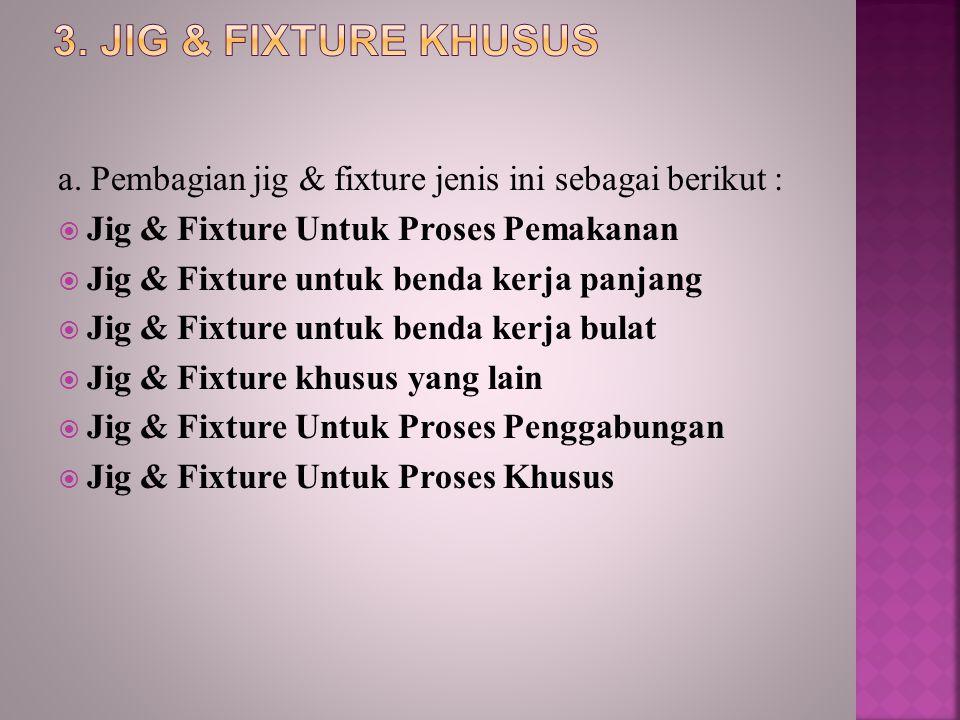 3. Jig & Fixture Khusus a. Pembagian jig & fixture jenis ini sebagai berikut : Jig & Fixture Untuk Proses Pemakanan.