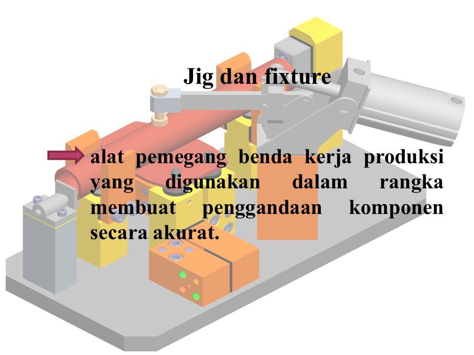 Jig dan fixture alat pemegang benda kerja produksi yang digunakan dalam rangka membuat penggandaan komponen secara akurat.