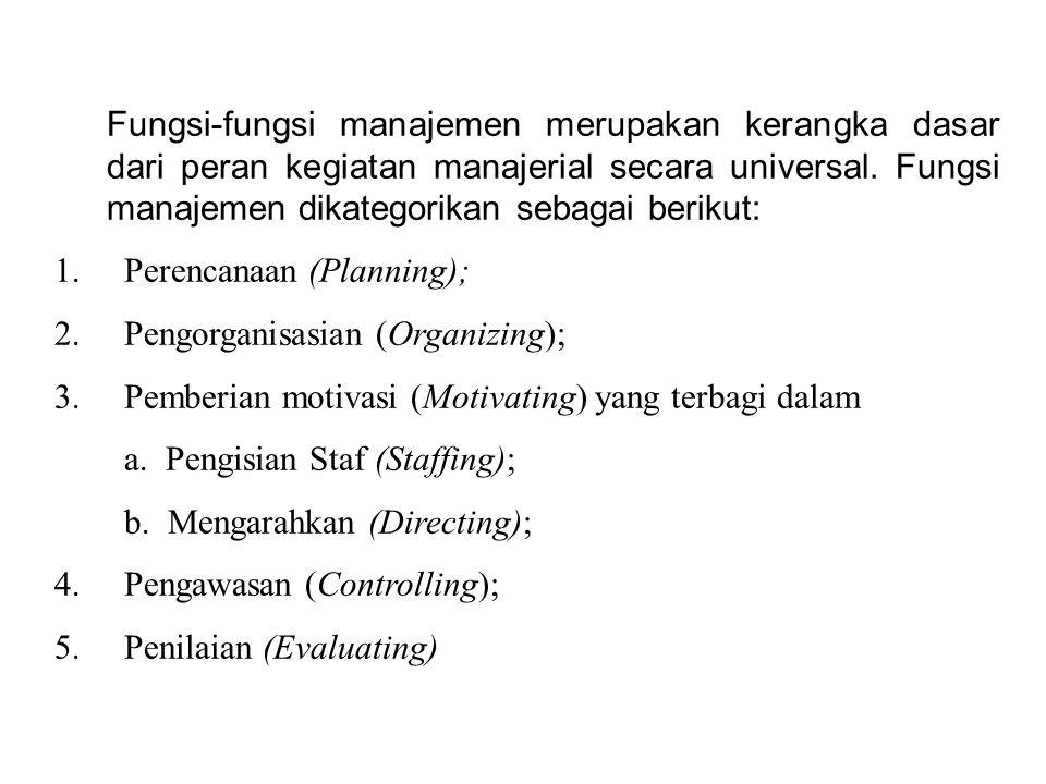 Fungsi-fungsi manajemen merupakan kerangka dasar dari peran kegiatan manajerial secara universal. Fungsi manajemen dikategorikan sebagai berikut: