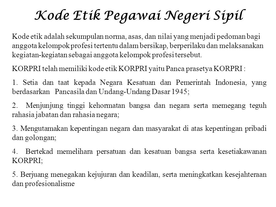 Kode Etik Pegawai Negeri Sipil