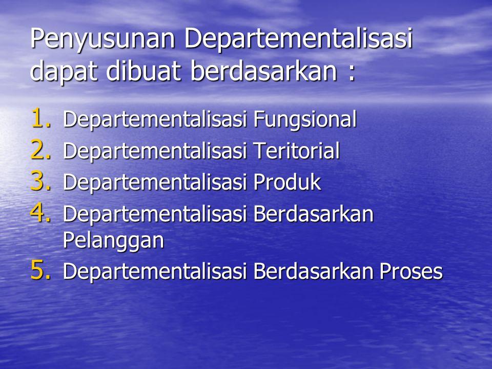 Penyusunan Departementalisasi dapat dibuat berdasarkan :