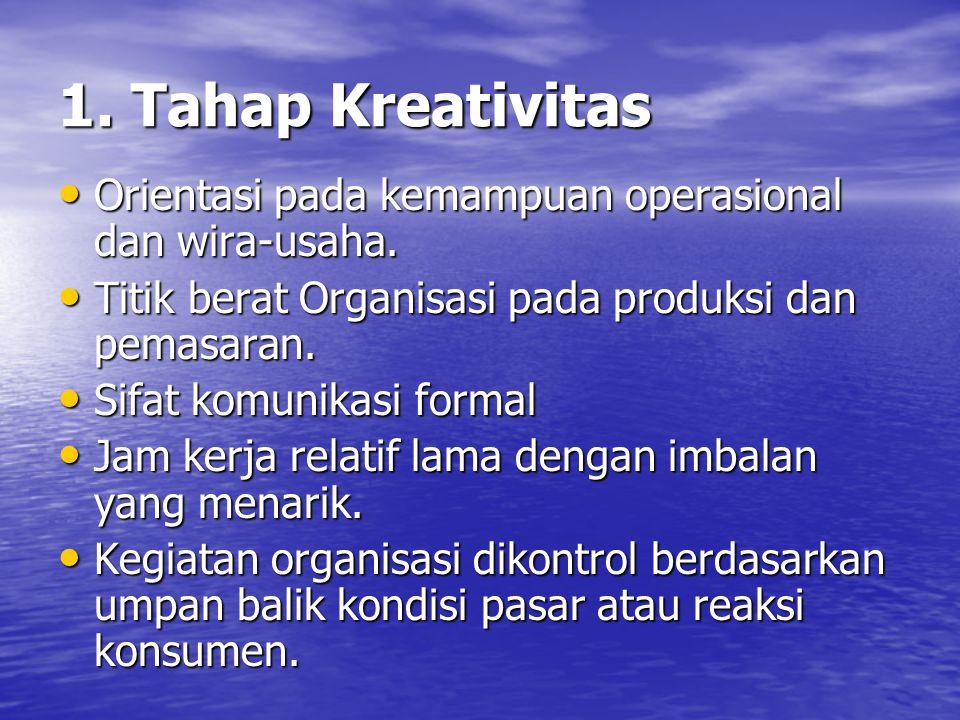 1. Tahap Kreativitas Orientasi pada kemampuan operasional dan wira-usaha. Titik berat Organisasi pada produksi dan pemasaran.
