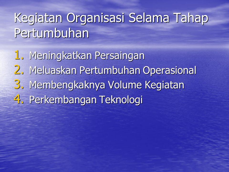 Kegiatan Organisasi Selama Tahap Pertumbuhan