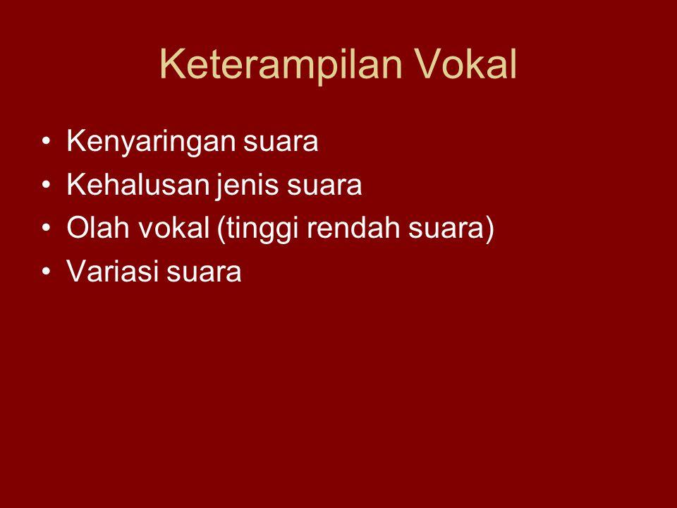 Keterampilan Vokal Kenyaringan suara Kehalusan jenis suara