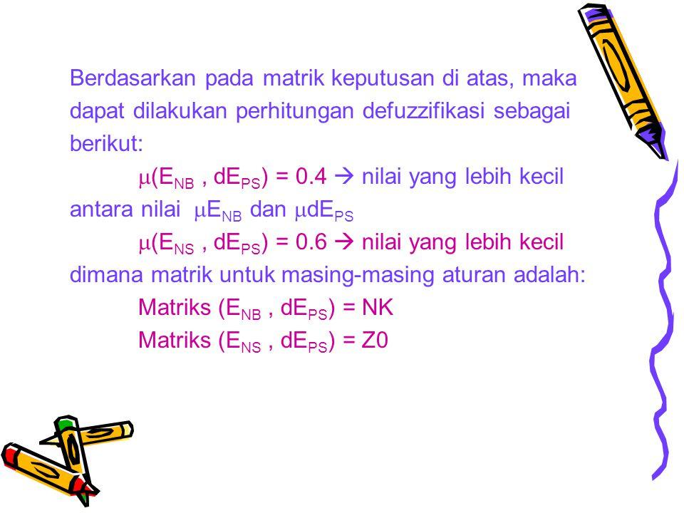 Berdasarkan pada matrik keputusan di atas, maka dapat dilakukan perhitungan defuzzifikasi sebagai berikut: