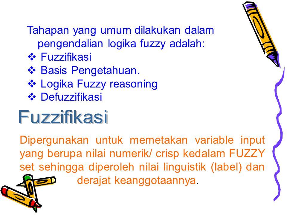 Tahapan yang umum dilakukan dalam pengendalian logika fuzzy adalah: