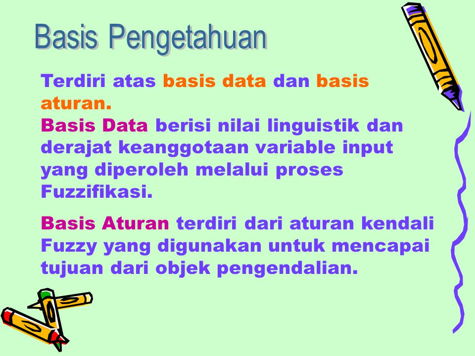 Basis Pengetahuan Terdiri atas basis data dan basis aturan.