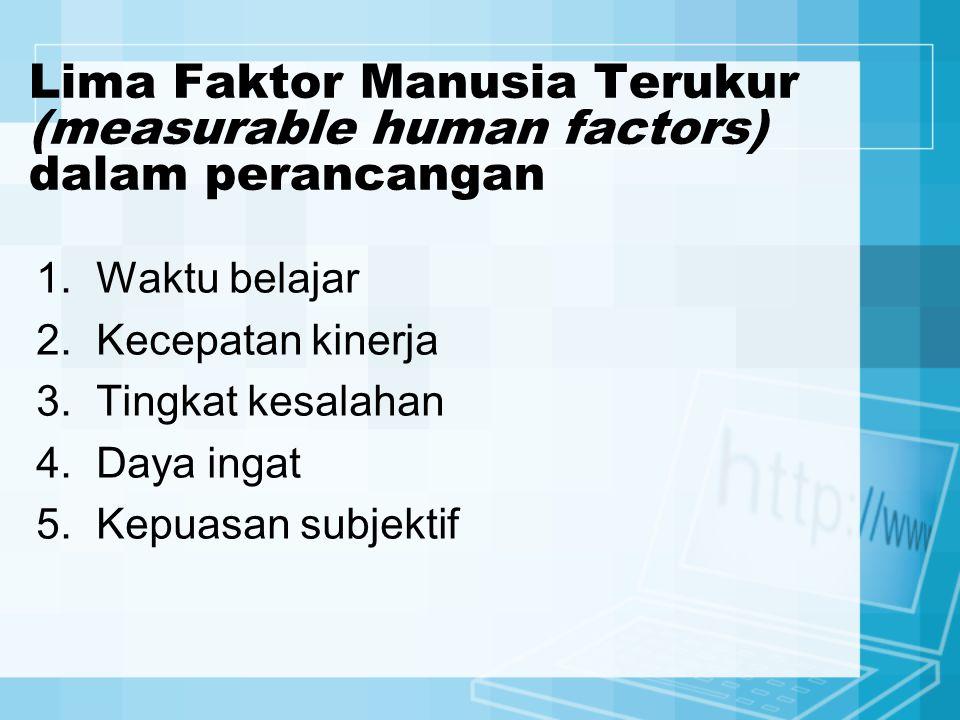 Lima Faktor Manusia Terukur (measurable human factors) dalam perancangan