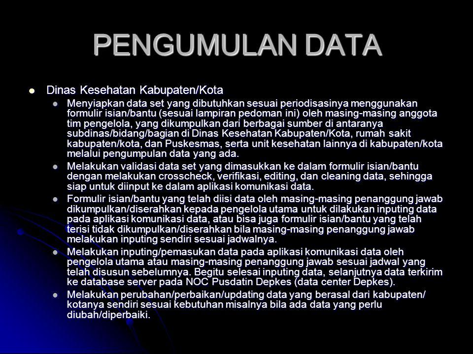 PENGUMULAN DATA Dinas Kesehatan Kabupaten/Kota