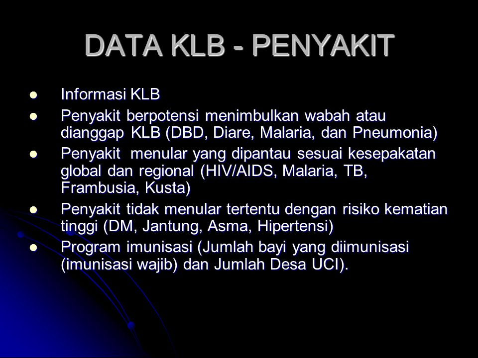 DATA KLB - PENYAKIT Informasi KLB