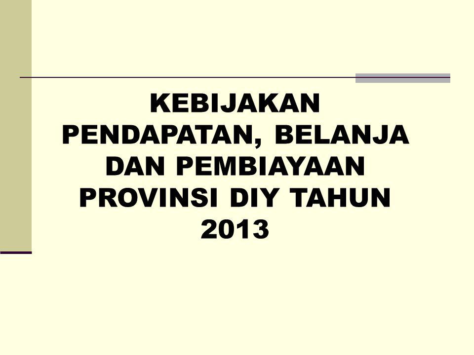 KEBIJAKAN PENDAPATAN, BELANJA DAN PEMBIAYAAN PROVINSI DIY TAHUN 2013