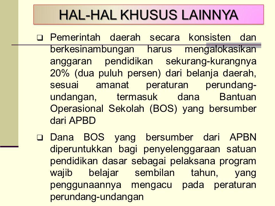 HAL-HAL KHUSUS LAINNYA