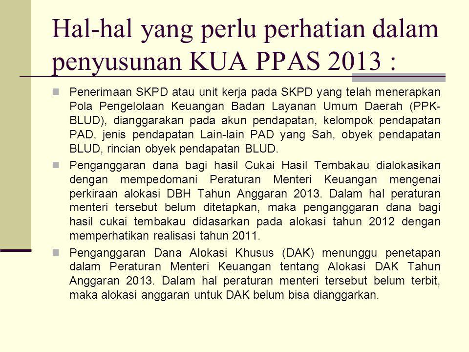 Hal-hal yang perlu perhatian dalam penyusunan KUA PPAS 2013 :