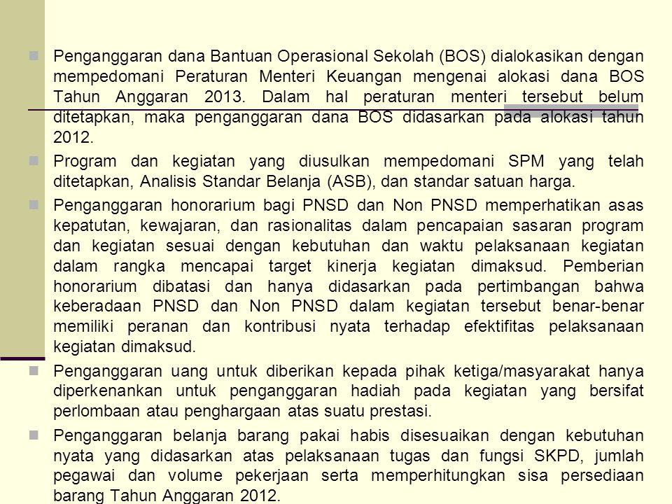 Penganggaran dana Bantuan Operasional Sekolah (BOS) dialokasikan dengan mempedomani Peraturan Menteri Keuangan mengenai alokasi dana BOS Tahun Anggaran 2013. Dalam hal peraturan menteri tersebut belum ditetapkan, maka penganggaran dana BOS didasarkan pada alokasi tahun 2012.