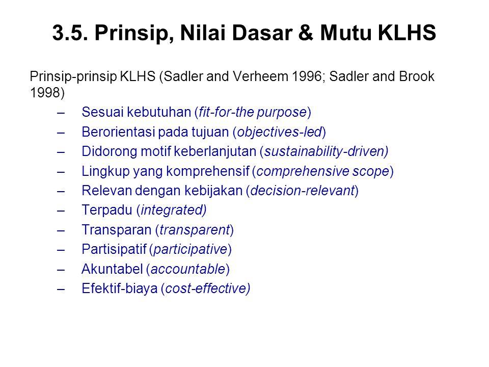 3.5. Prinsip, Nilai Dasar & Mutu KLHS