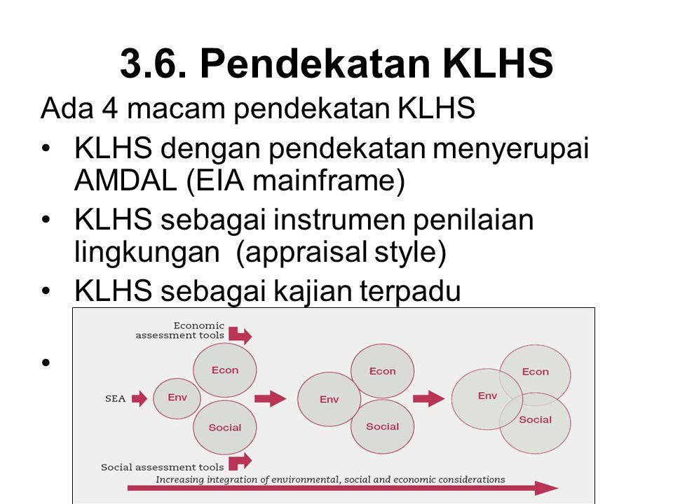 3.6. Pendekatan KLHS Ada 4 macam pendekatan KLHS