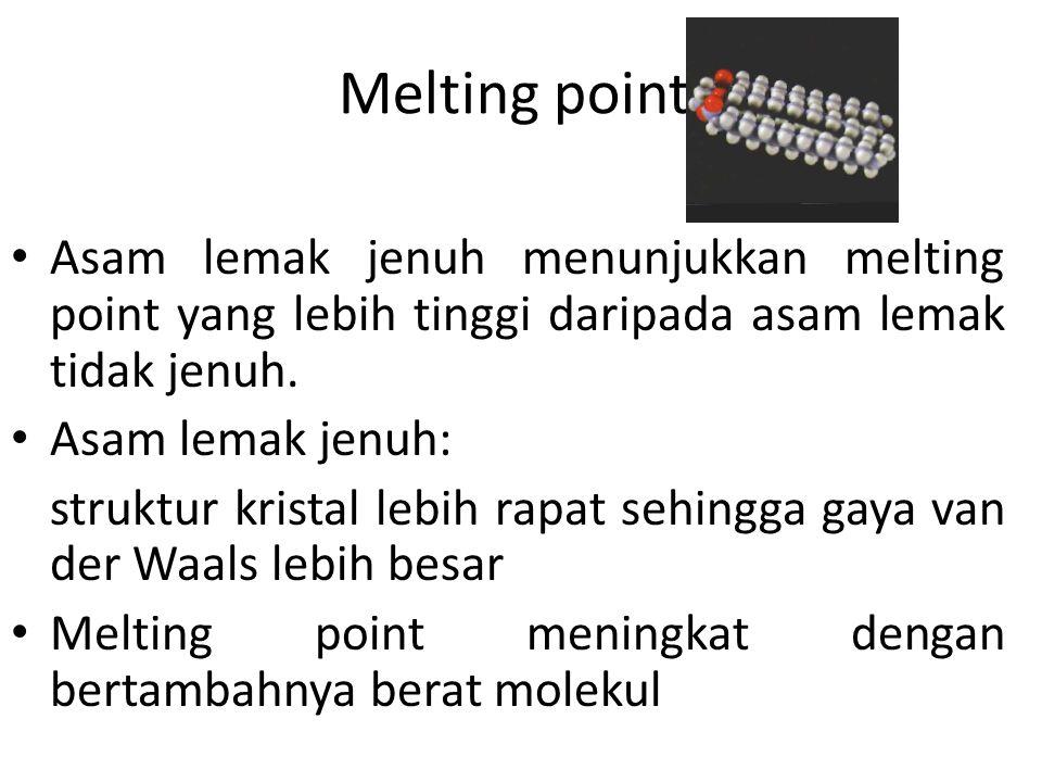 Melting point Asam lemak jenuh menunjukkan melting point yang lebih tinggi daripada asam lemak tidak jenuh.