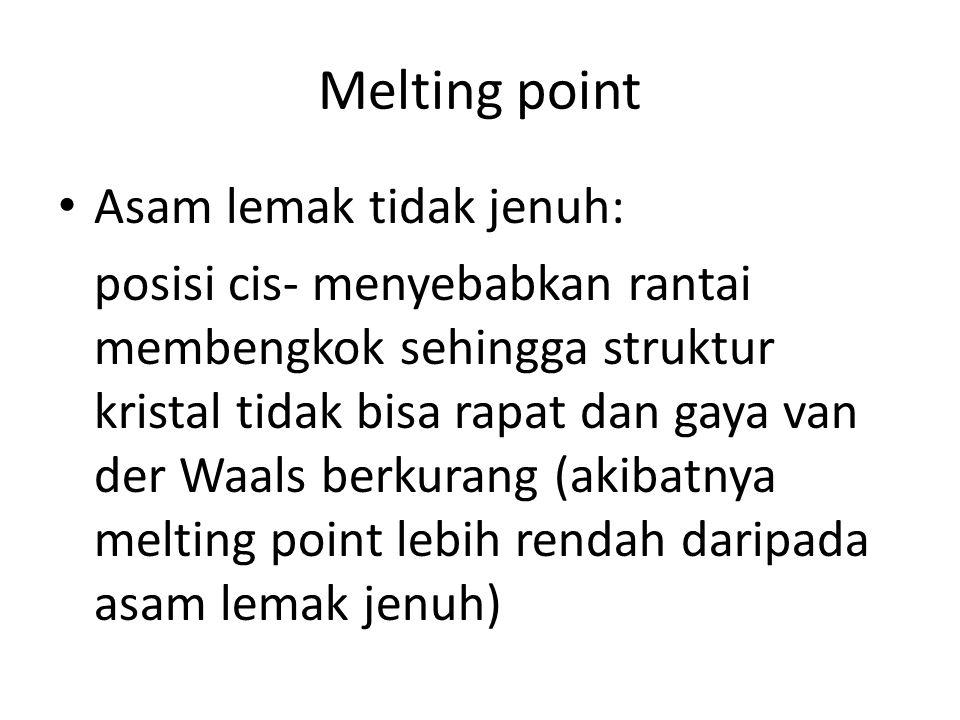 Melting point Asam lemak tidak jenuh: