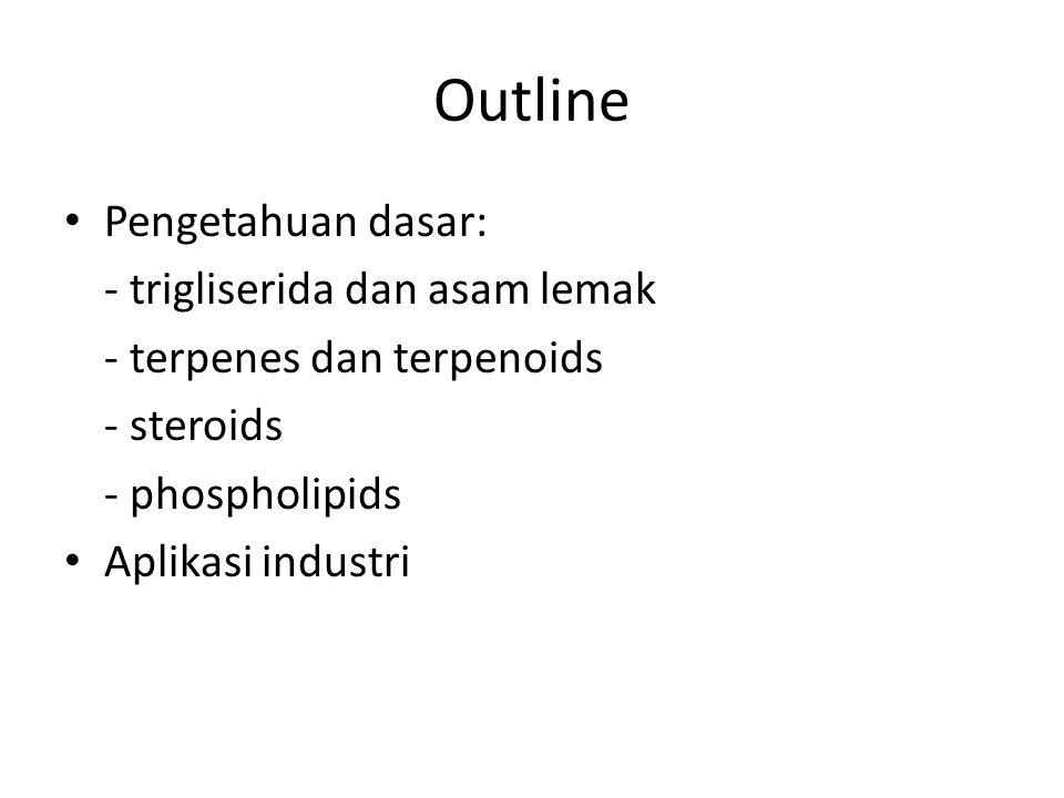 Outline Pengetahuan dasar: - trigliserida dan asam lemak