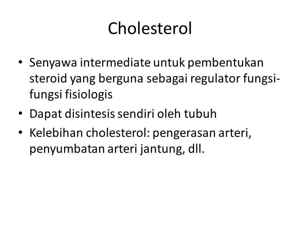 Cholesterol Senyawa intermediate untuk pembentukan steroid yang berguna sebagai regulator fungsi-fungsi fisiologis.