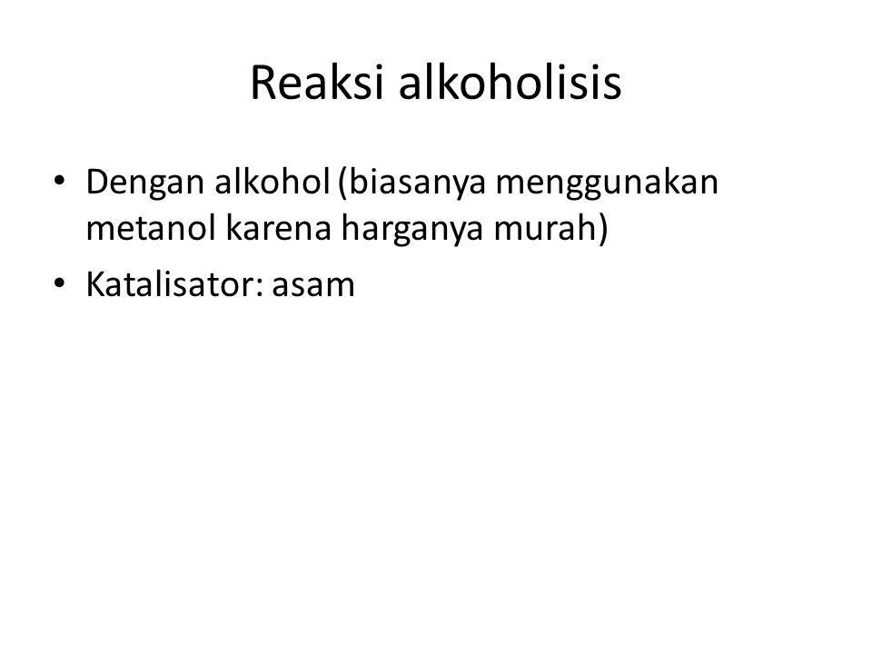 Reaksi alkoholisis Dengan alkohol (biasanya menggunakan metanol karena harganya murah) Katalisator: asam.