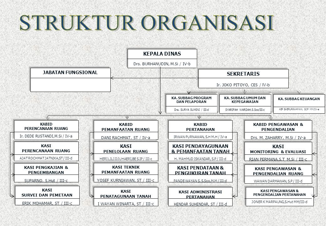 STRUKTUR ORGANISASI KEPALA DINAS SEKRETARIS JABATAN FUNGSIONAL KASI