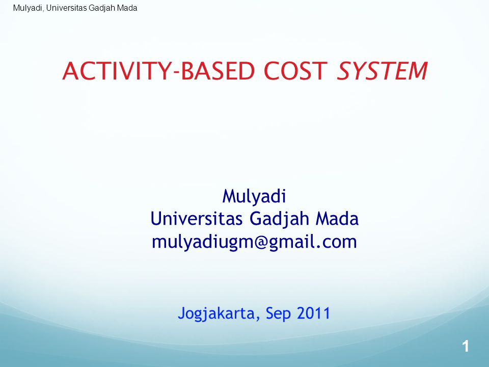 ACTIVITY-BASED COST SYSTEM