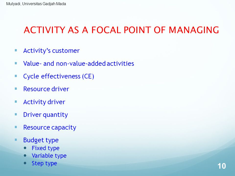 ACTIVITY AS A FOCAL POINT OF MANAGING