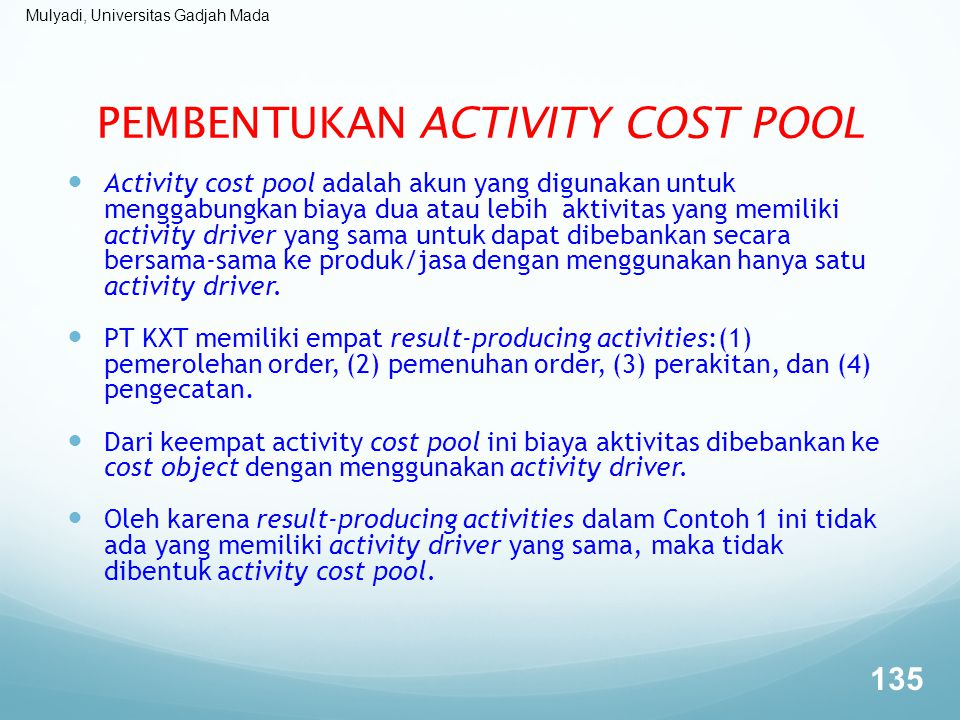 PEMBENTUKAN ACTIVITY COST POOL